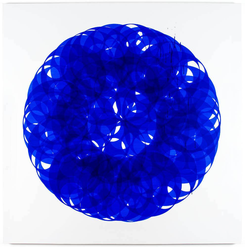 Soonja Han, Indigo blue universe, 2017, galleria Il Ponte, Firenze