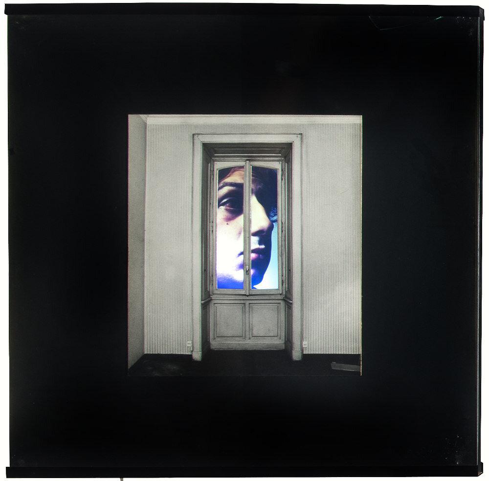 Davide Mosconi, Il sogno di Davide (finestra con M. Vitali), 1968, light box, galleria Il Ponte, Firenze