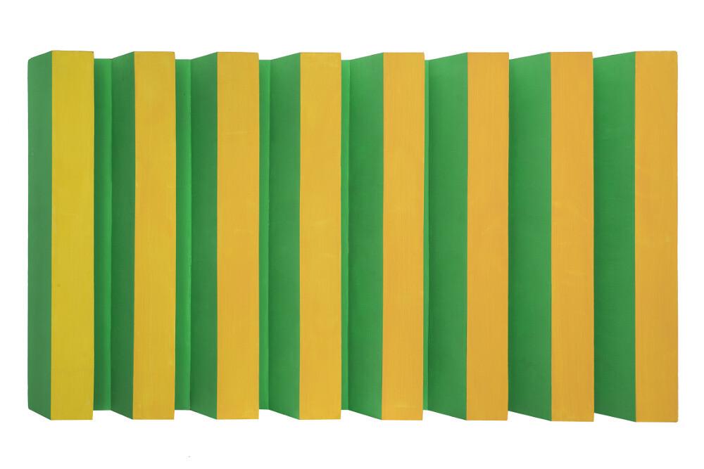 Bruno Gambone, Oggetto, 1965, acrylic on grooved board 80x130 cm, galleria Il Ponte, Firenze