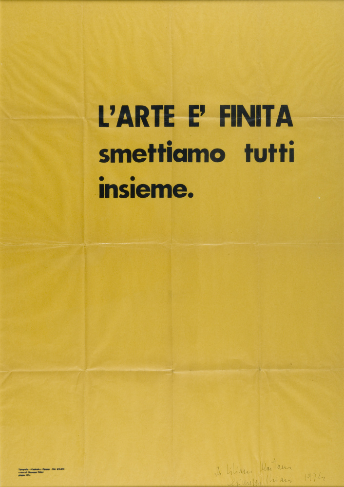 Giuseppe Chiari, L'arte è finita, smettiamo tutti insieme, 1974, galleria Il Ponte, Firenze