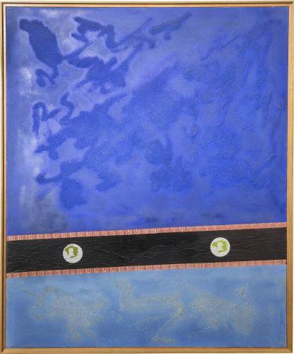 Giulio Turcato, Ricordo di New York, 1963, oil sand and collage on canvas, 170x140 cm