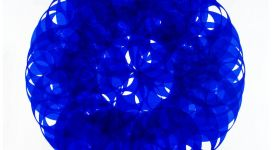 Soonja Han, Indigo blue universe, 2017, acrylic on canvas, 155x155x4 cm
