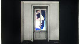 Il sogno di Davide (finestra con M. Vitali), 1968, Light box (b/w photograph and color diapositive in a wooden box, neon, glass, metal), 60,50 x60x16 cm