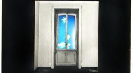 Il sogno di Davide (finestra con cielo), 1968, Light box (b/w photograph and color diapositive in a wooden box, neon, glass, metal), 60,50 x60x16 cm
