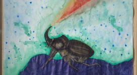 Jan Fabre, Rhinoceros beetle in state of war (series: Metamorphoses), 1992, Bic ballpoint pen and watercolor on paper, 236x150 cm