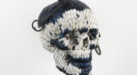 Skull with the Keys of Hell, 2013, mixture of jewel beetle wing-cases, polymers, iron, 23x21x20 cm