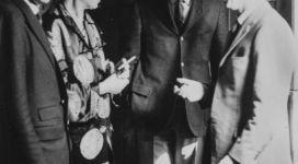 Alfredo Bonino, Louise Nevelson, Bruno Gambone and Guido Ballo in the studio of Louise Nevelson, New York, 1965