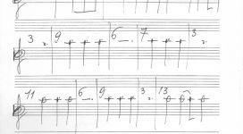 Senza titolo, 1962, ballpoint pen and pencil on music sheet 32,5x23,7 cm (recto verso)