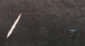 Gilberto Zorio, Progetto interpretazione arbitraria di un lavoro e più di G. Zorio, 1973, rilief and etched wax on paper on canvas 109,5x438 cm (detail)